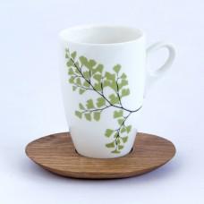 Mug & wood saucer - fern