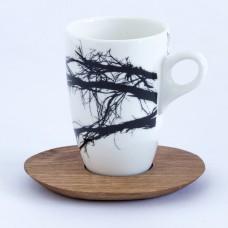 Mug & wood saucer - branch