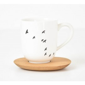 Large mug & wood saucer - birds