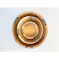 Bols ronds bois d'olivier x 3