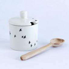 Sucrier & cuillère en bois - oiseaux