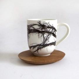 Tasse Large et soucoupe en bois - branches